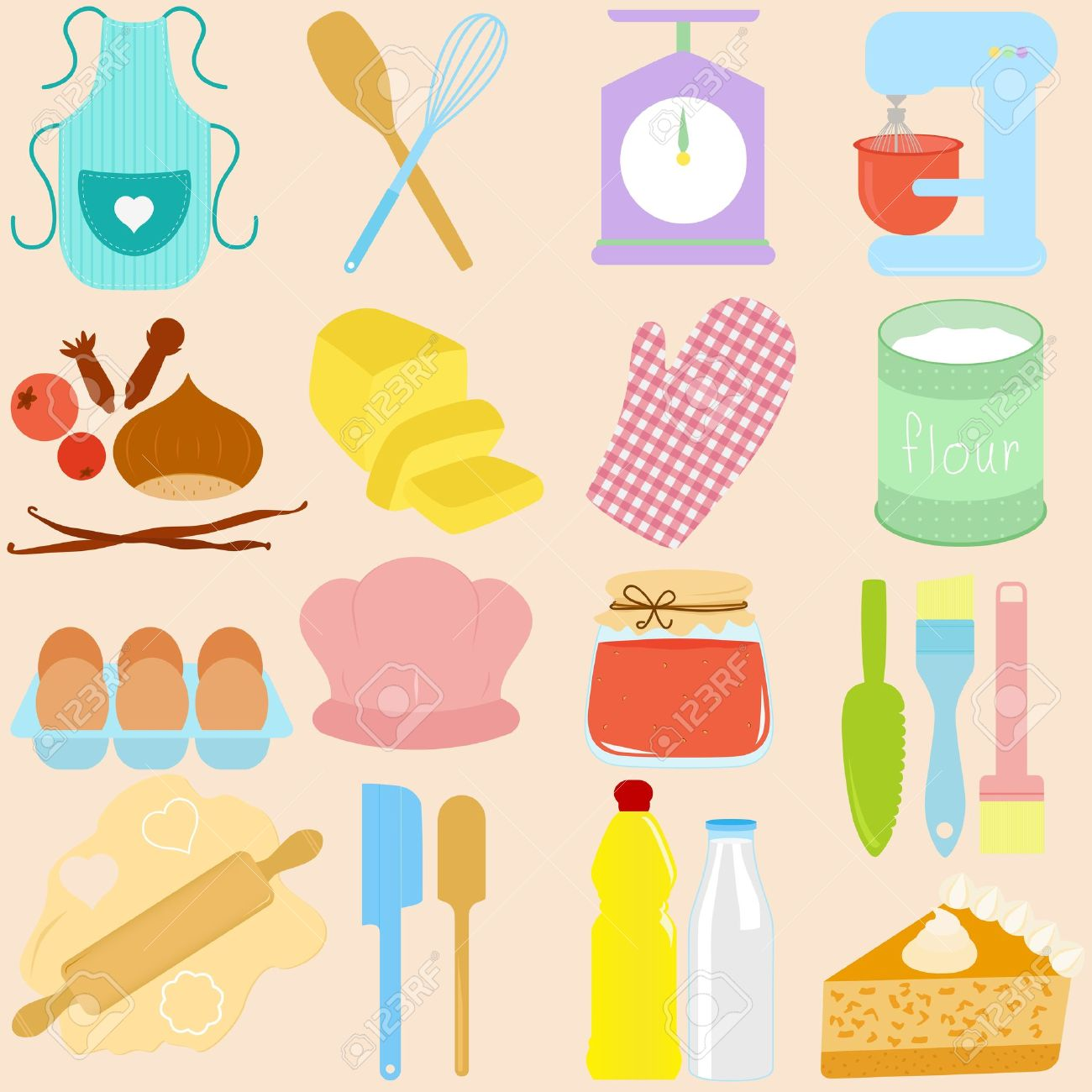 Baking Tools Vector Collection Of Cooking Baking Tools In Pastel Royalty Free