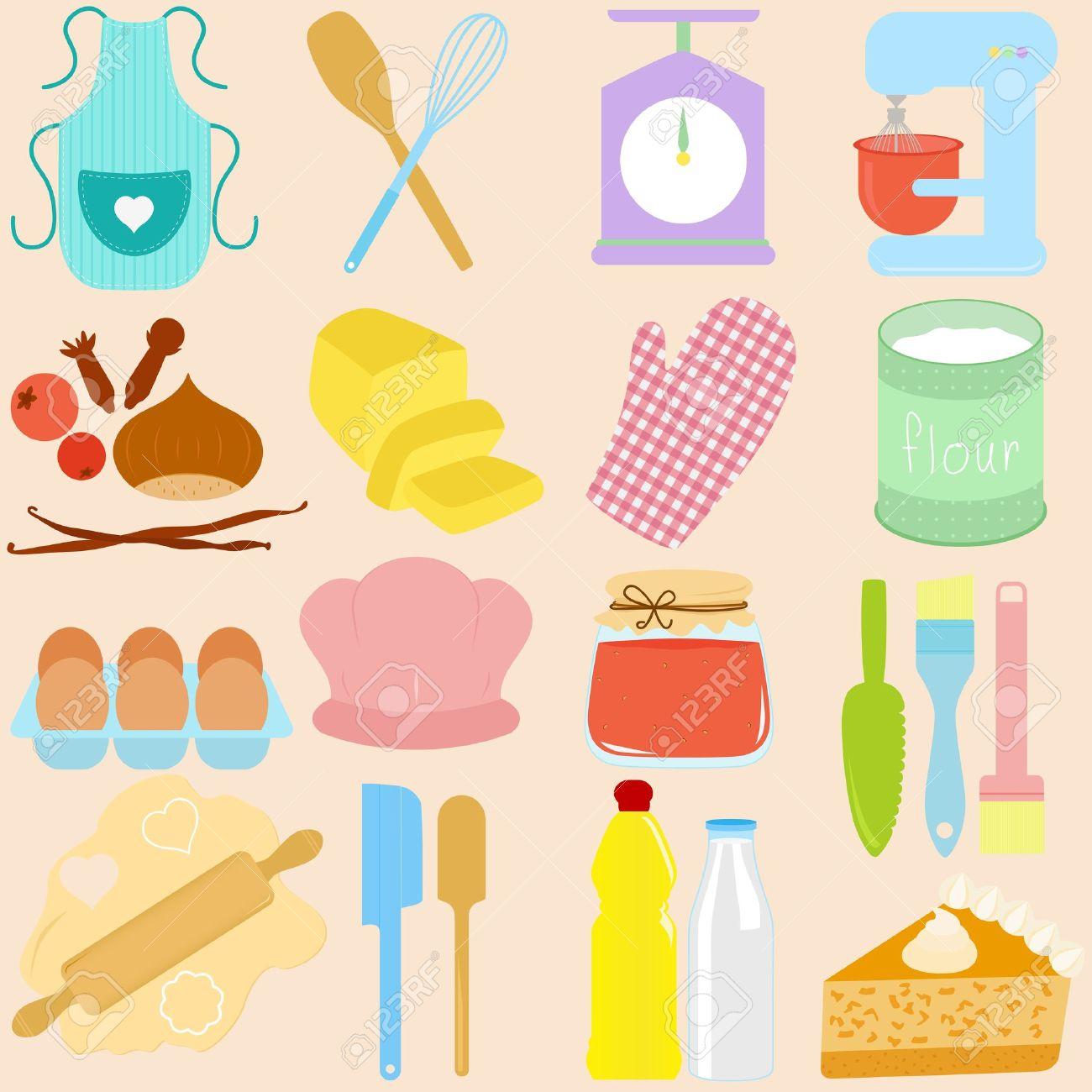 archivio fotografico raccolta di cucina strumenti di cottura in pastello