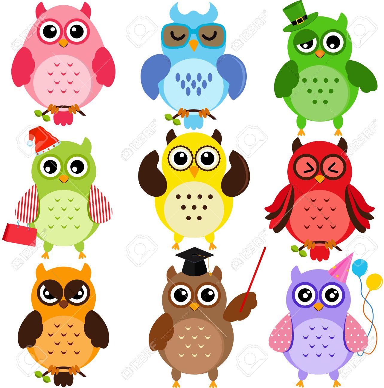 Conjunto De Búhos De Colores Con Diferentes Personajes Ilustraciones