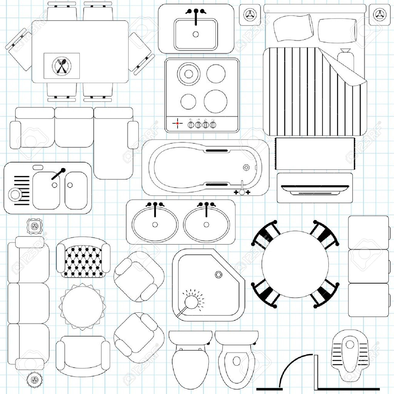 Icons Simple Furniture Floor Plan Outline Royalty Free Cliparts