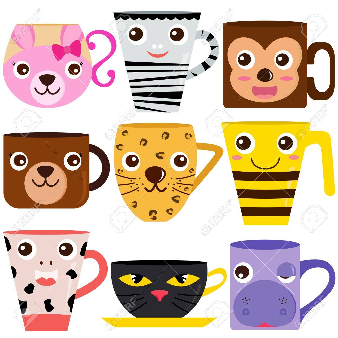 collection of Coffee Cup and Mug with different animal patterns Stock Vector - 17638211