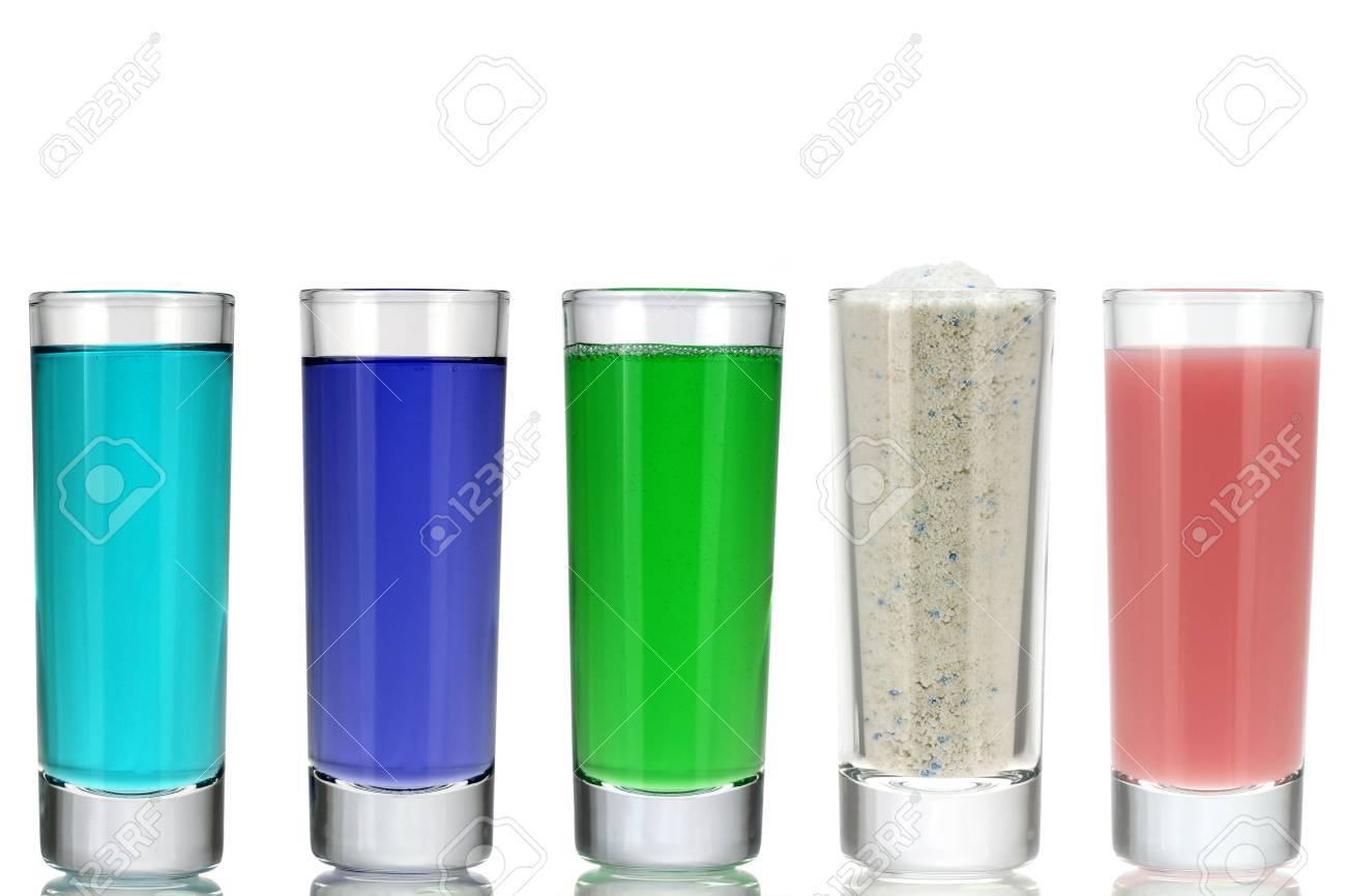 Different Kinds of Laundry Detergent, Washing Powder, Softener in a Glass, isolated on white Stock Photo - 19218602