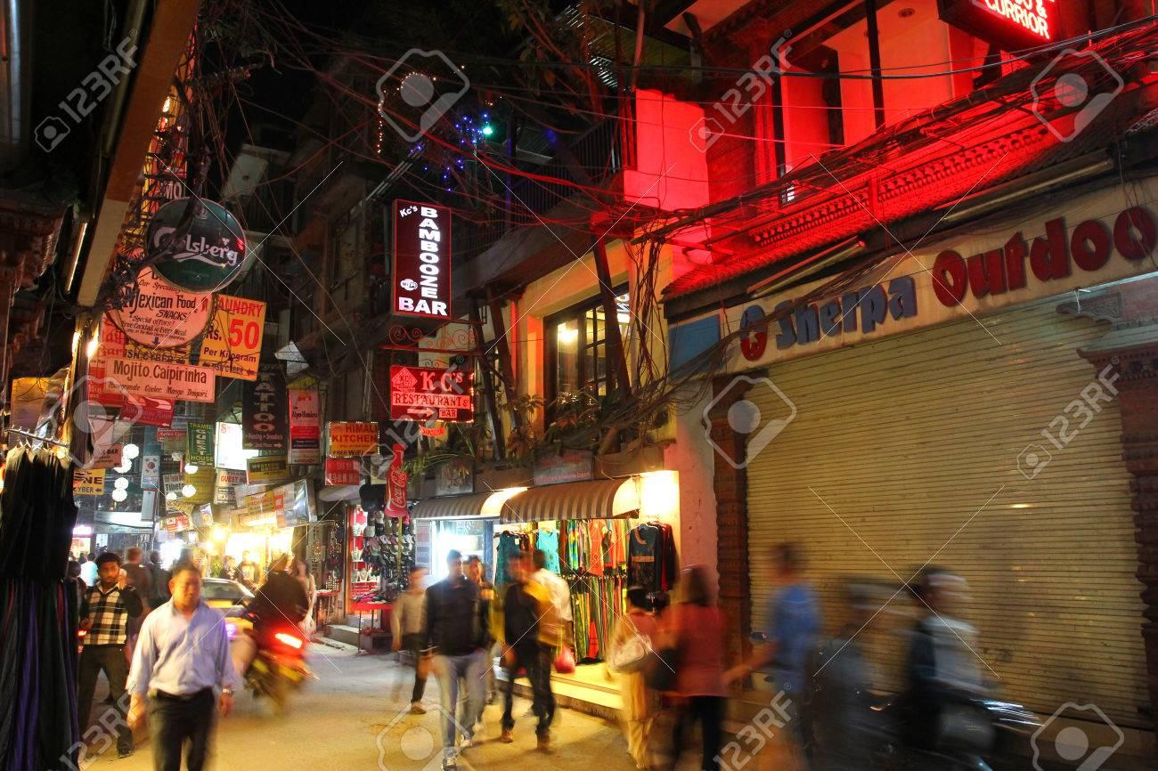People walking around on Mandala Street at Thamel district in