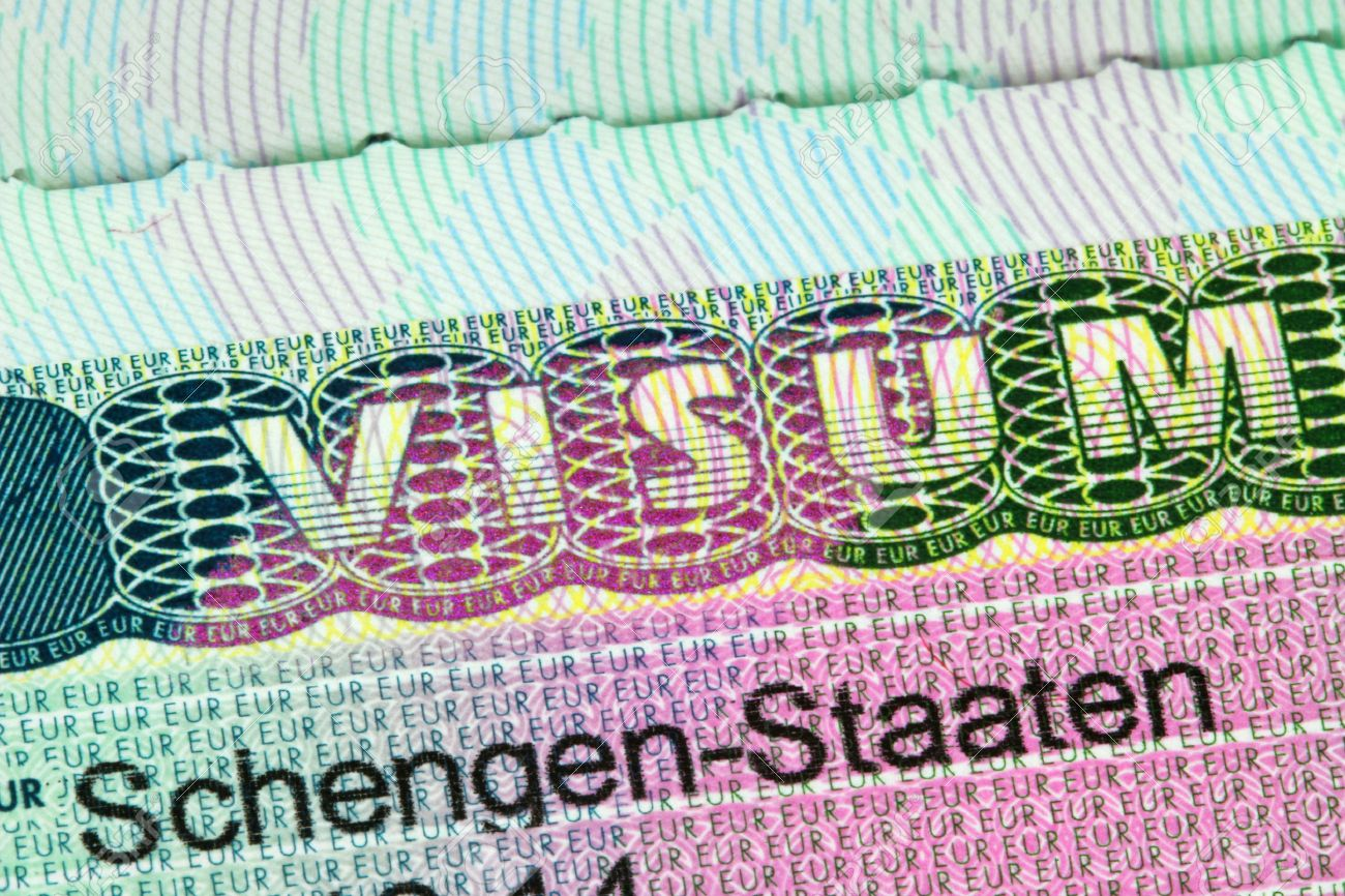 Attraktiv Nahaufnahme Des Schengen Visum Nach Österreich Deutschland Mit Seichtem DOF  Schwerpunkt Auf Das Wort VISUM