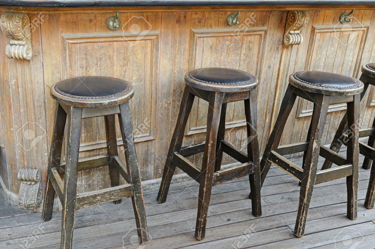 rustic wood bar stools.
