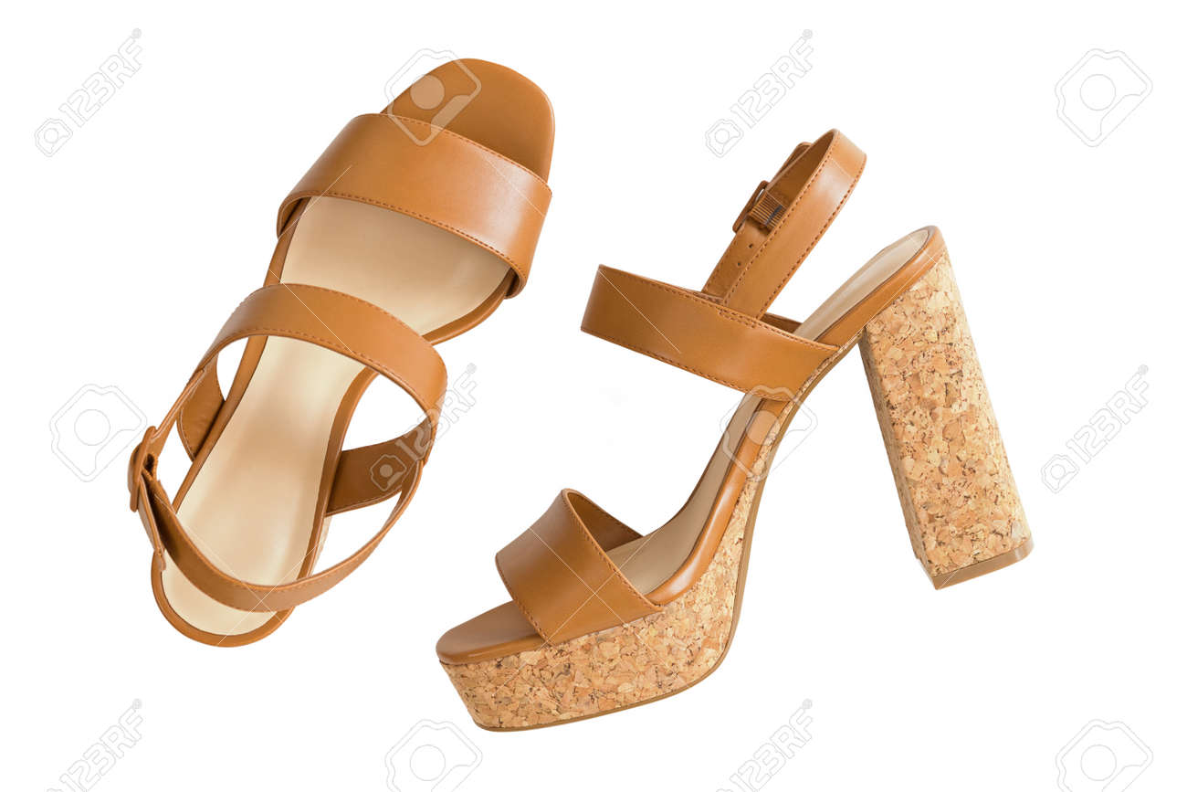 a9ffb03bb14 Stock Photo - Top view of new pair of stylish brown high heels with cork  soles