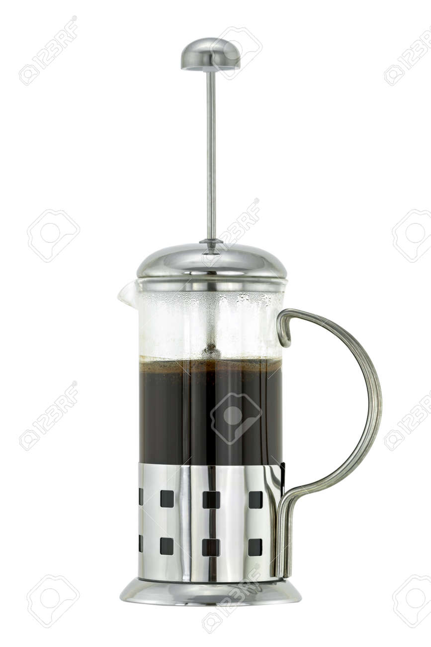Silver Metallic French Press Coffee Pot With Ground Coffee And