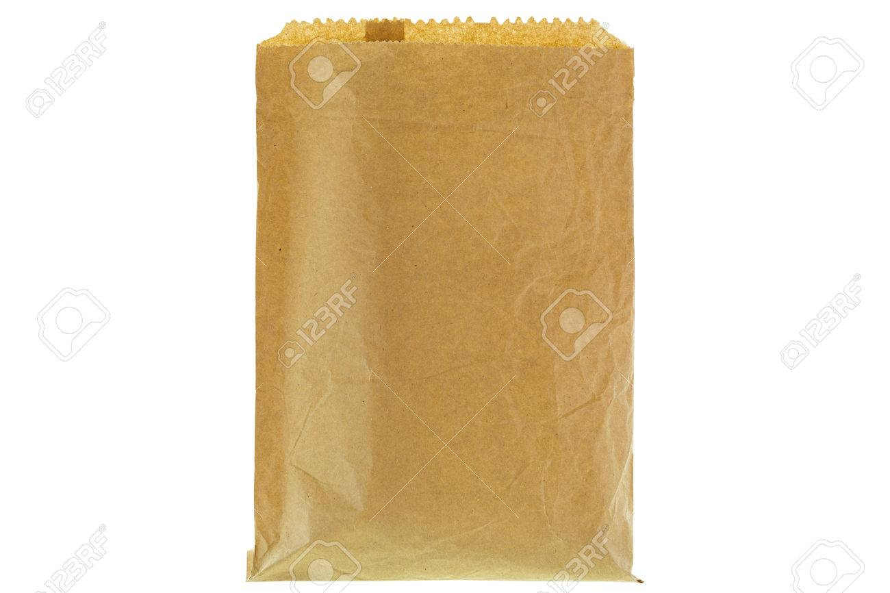 Closeup of wrinkly thin brown grocery paper bag, blank front and back  isolated on white