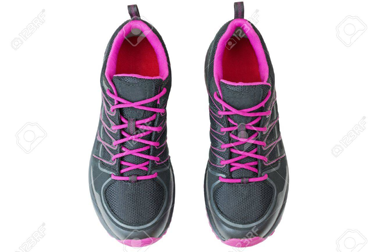 Top view of lightweight hiking boots shoes for women in black and pink, isolated on white background - 65212543