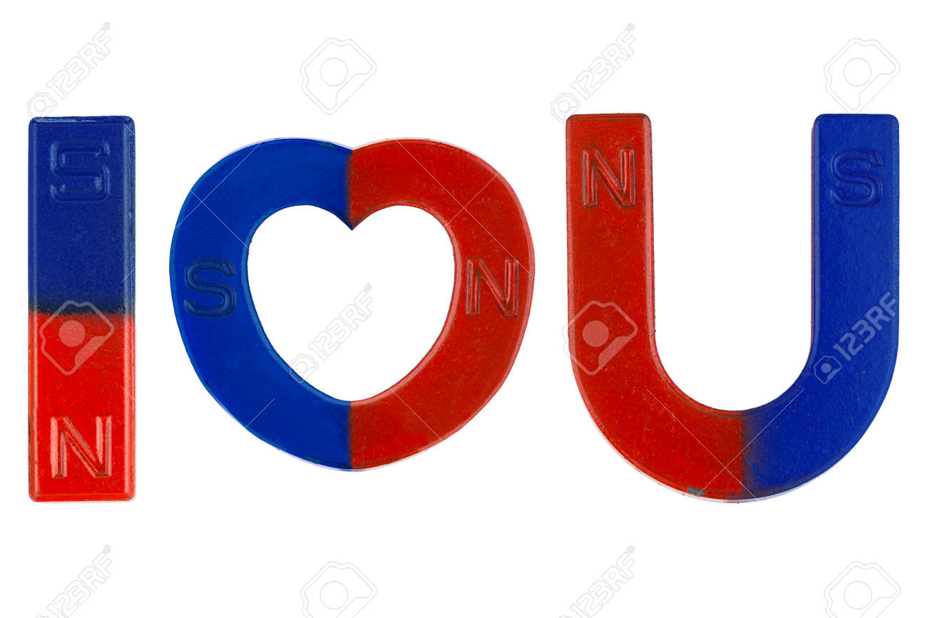 Magnets In Red Blue With Word I Love You Letter Alphabet I Stock