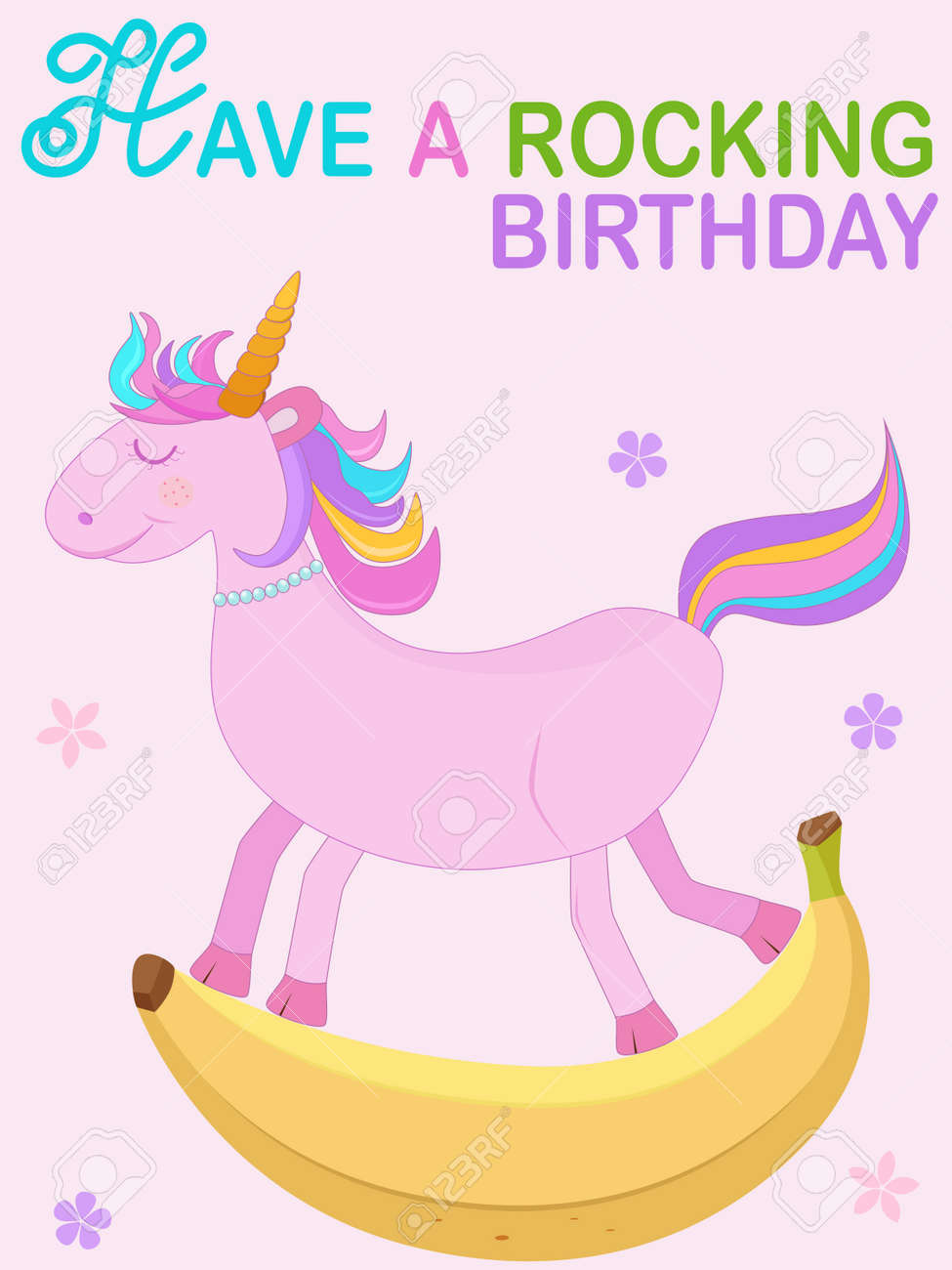 Vector   Vector Illustration Of Cute Unicorn Cartoon In Pink Rocking Banana  Rocking Chair With Have A Rocking Birthday Text On Pink Background