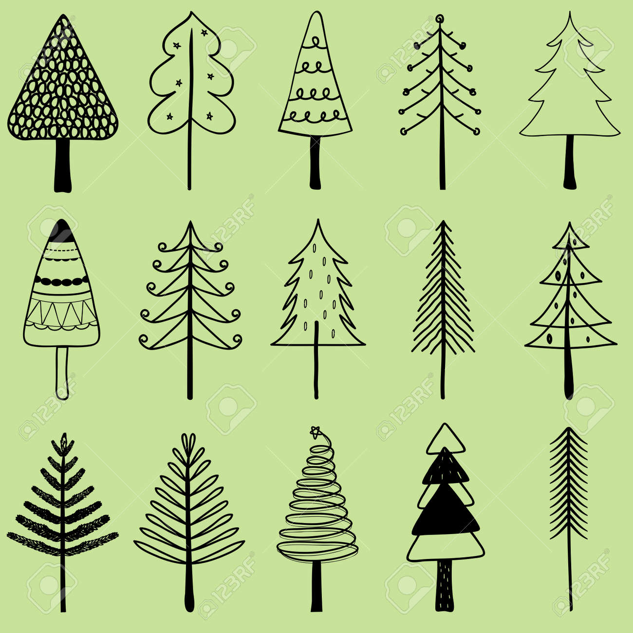 Vector illustration of simple hand drawn Christmas tree, set..