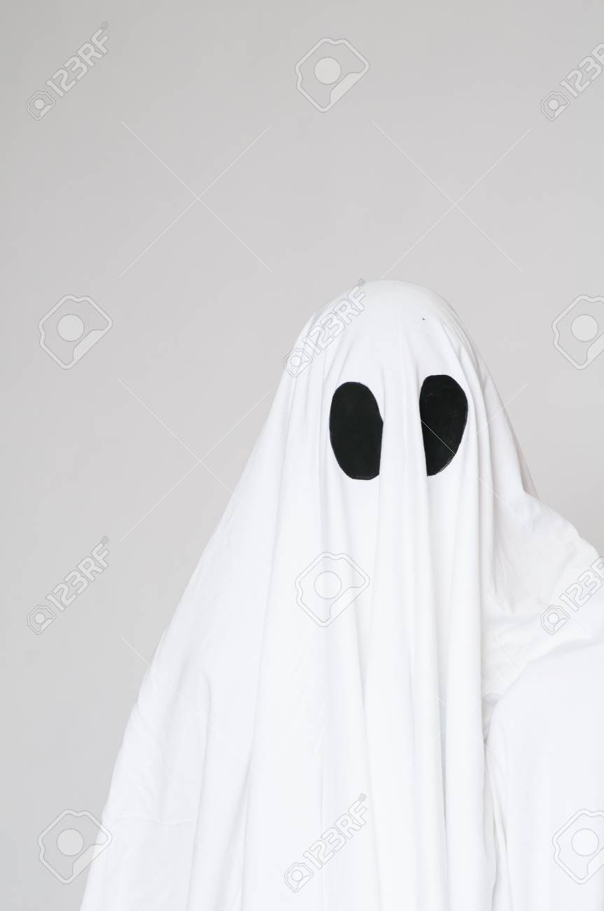Stock Photo - young boy in a homemade ghost costume ready for halloween & Young Boy In A Homemade Ghost Costume Ready For Halloween Stock ...