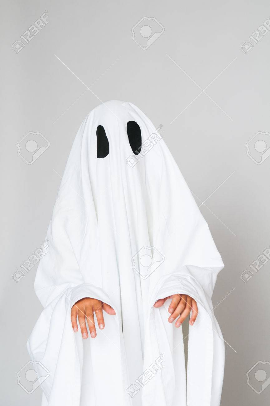 Stock Photo - young child dressed in a ghost costume for halloween & Young Child Dressed In A Ghost Costume For Halloween Stock Photo ...
