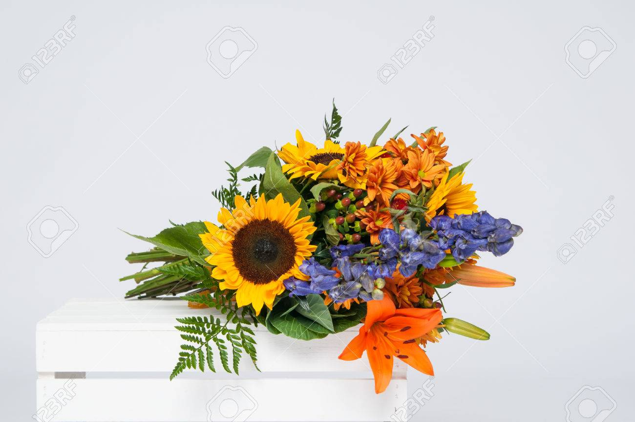 Beautiful bouquet of fall flowers on a white crate stock photo beautiful bouquet of fall flowers on a white crate stock photo 46290449 izmirmasajfo