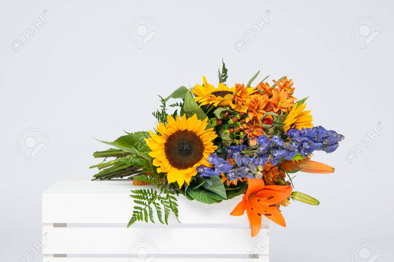 Beautiful bouquet of fall flowers on a white crate stock photo beautiful bouquet of fall flowers on a white crate stock photo 46290450 izmirmasajfo
