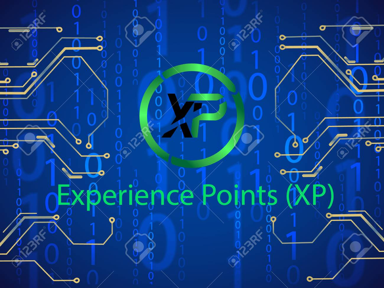 Banner, poster crypto currency symbol experience points on blue background. Stock illustration. - 124778533