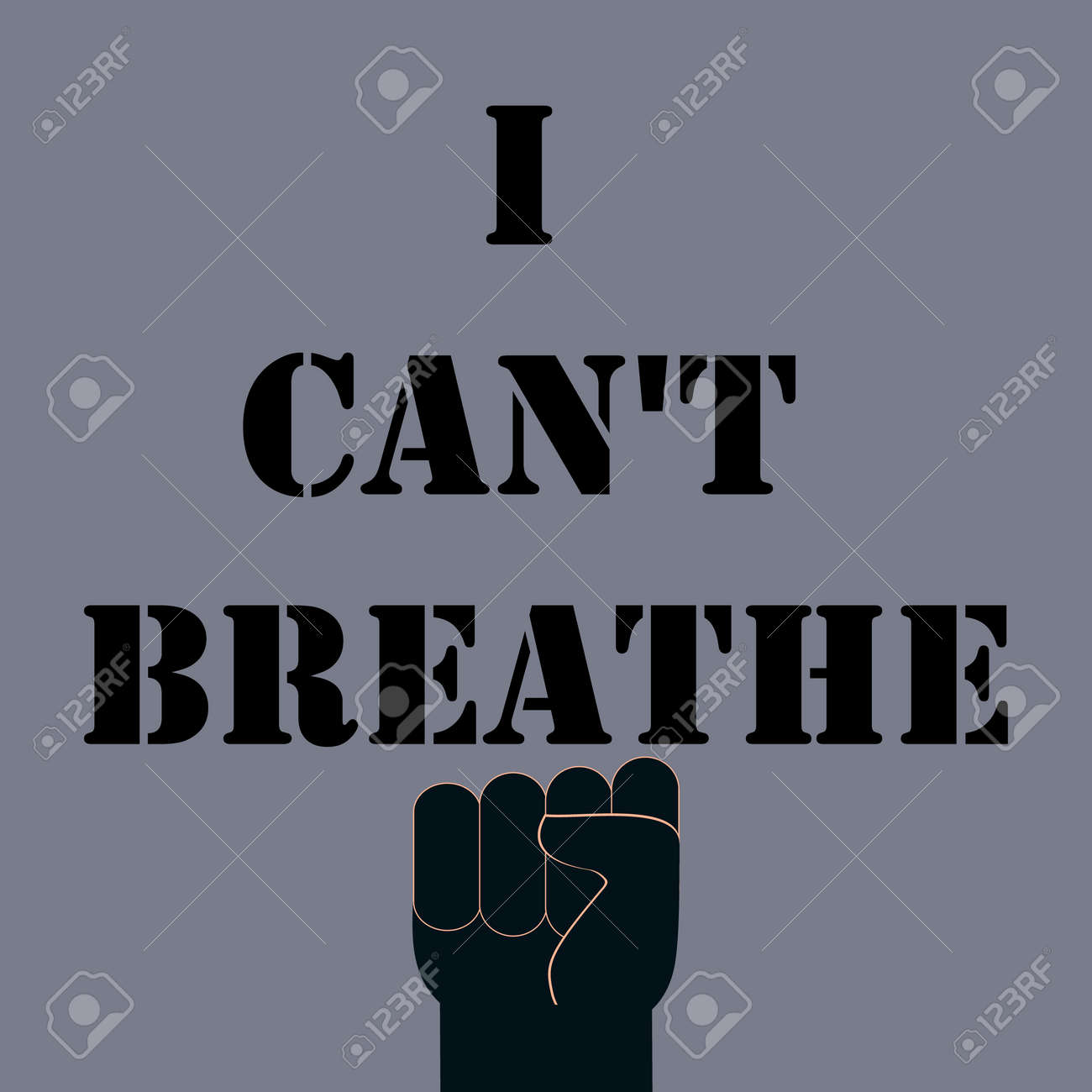 Poster, banner, flyer with raised up arm fist. Protest concept about black human right in all world. Vector Illustration. - 157503839