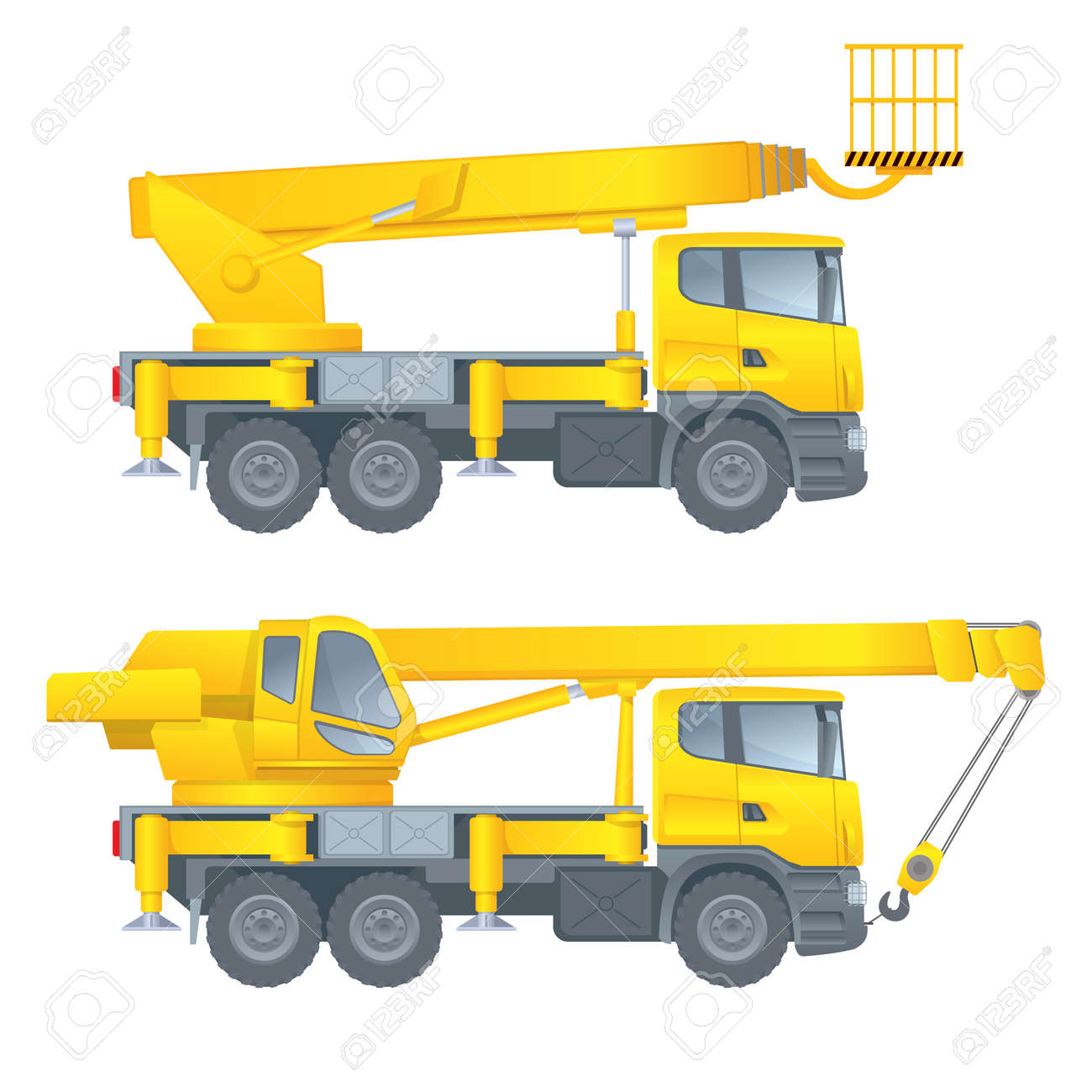 Construction Machinery Truck Crane Car Cradle Aerial Platform Vector Illustration White
