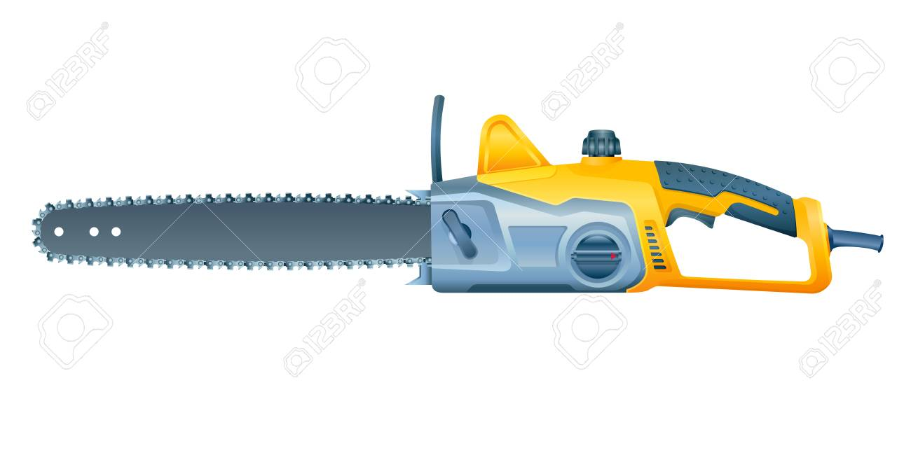 Chain Electric Saw On White Background. Vector Illustration Royalty ...