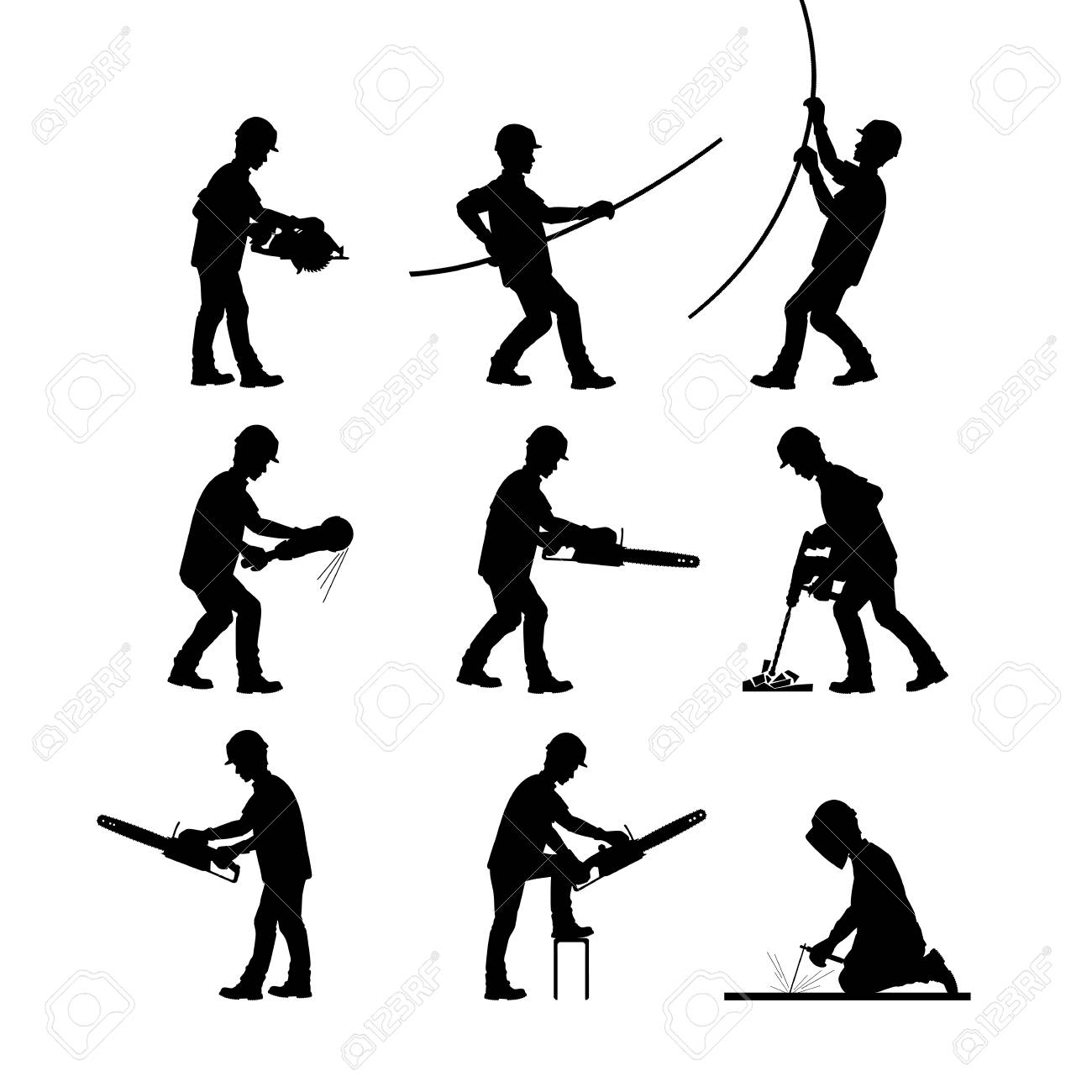A construction worker at work. Silhouettes in different poses with and without tools. Vector illustration. - 96137768