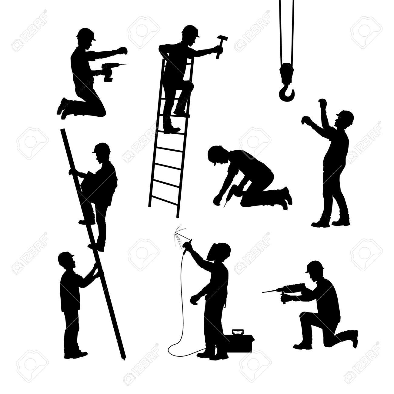 A construction worker at work. Silhouettes in different poses with and without tools. Vector illustration. - 96137769