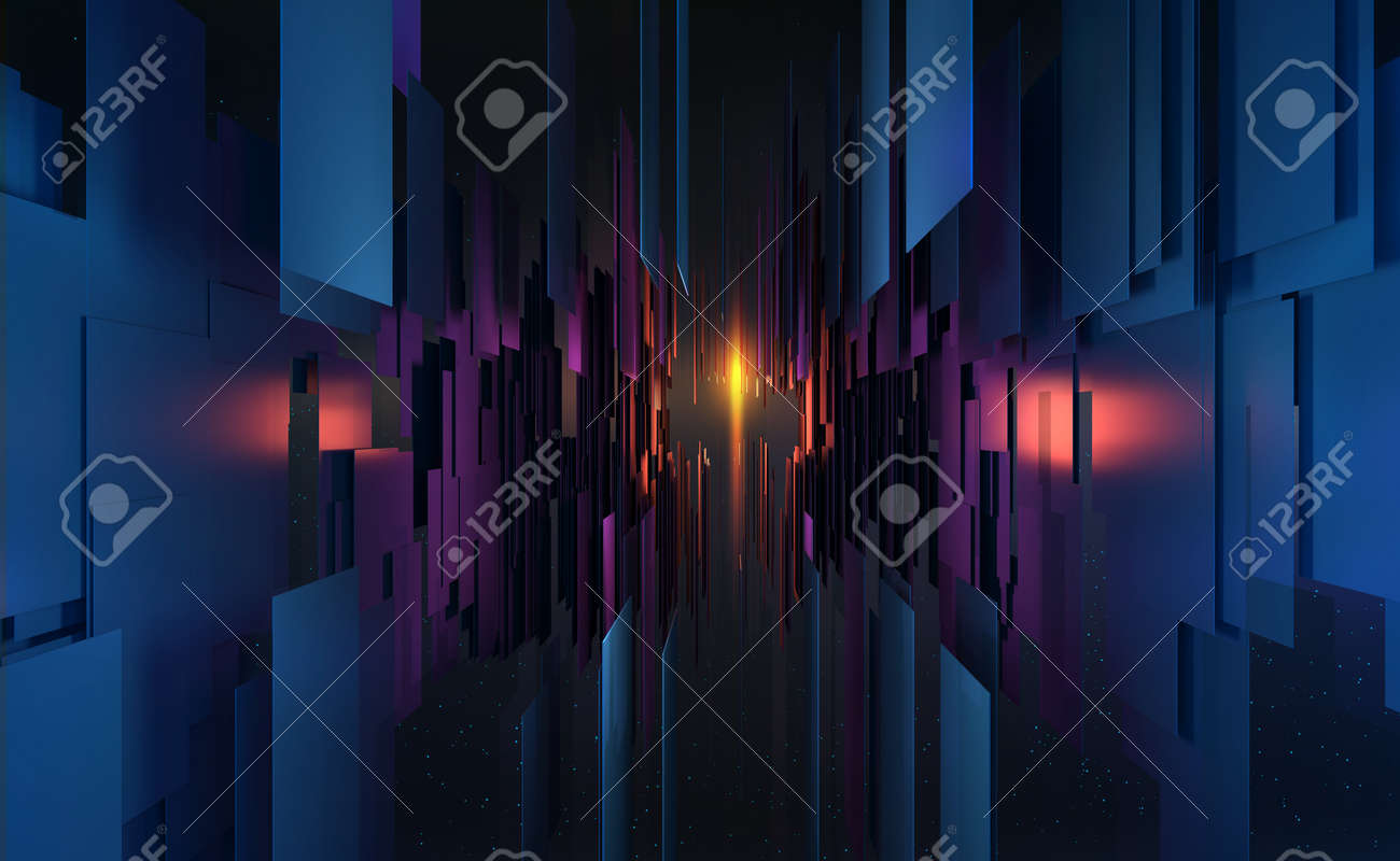 Abstract purple, neon background. Digital technology. Concept of high tech internet network. 3D illustration of processor of future in orbital cyber tunnels - 150368484