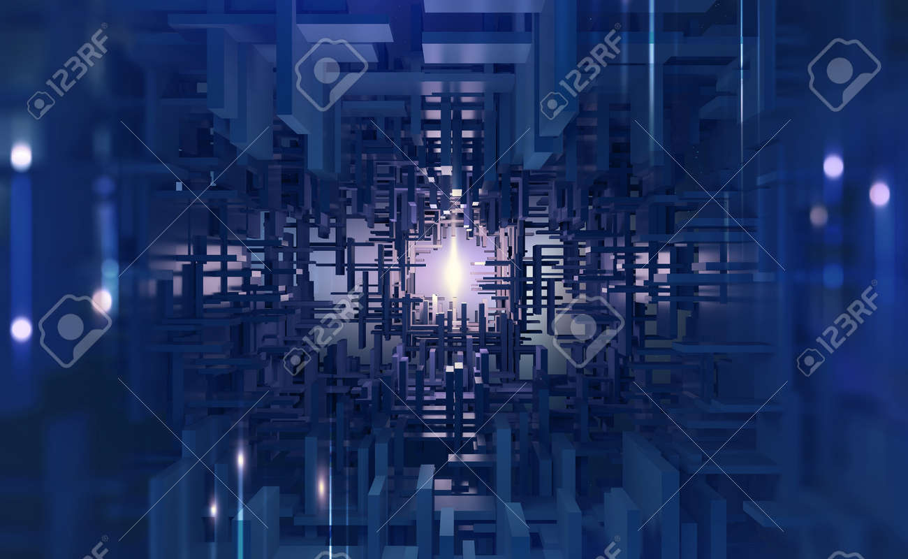 Abstract purple, neon background. Digital technology. Concept of high tech internet network. 3D illustration of processor of future in orbital cyber tunnels - 150368486