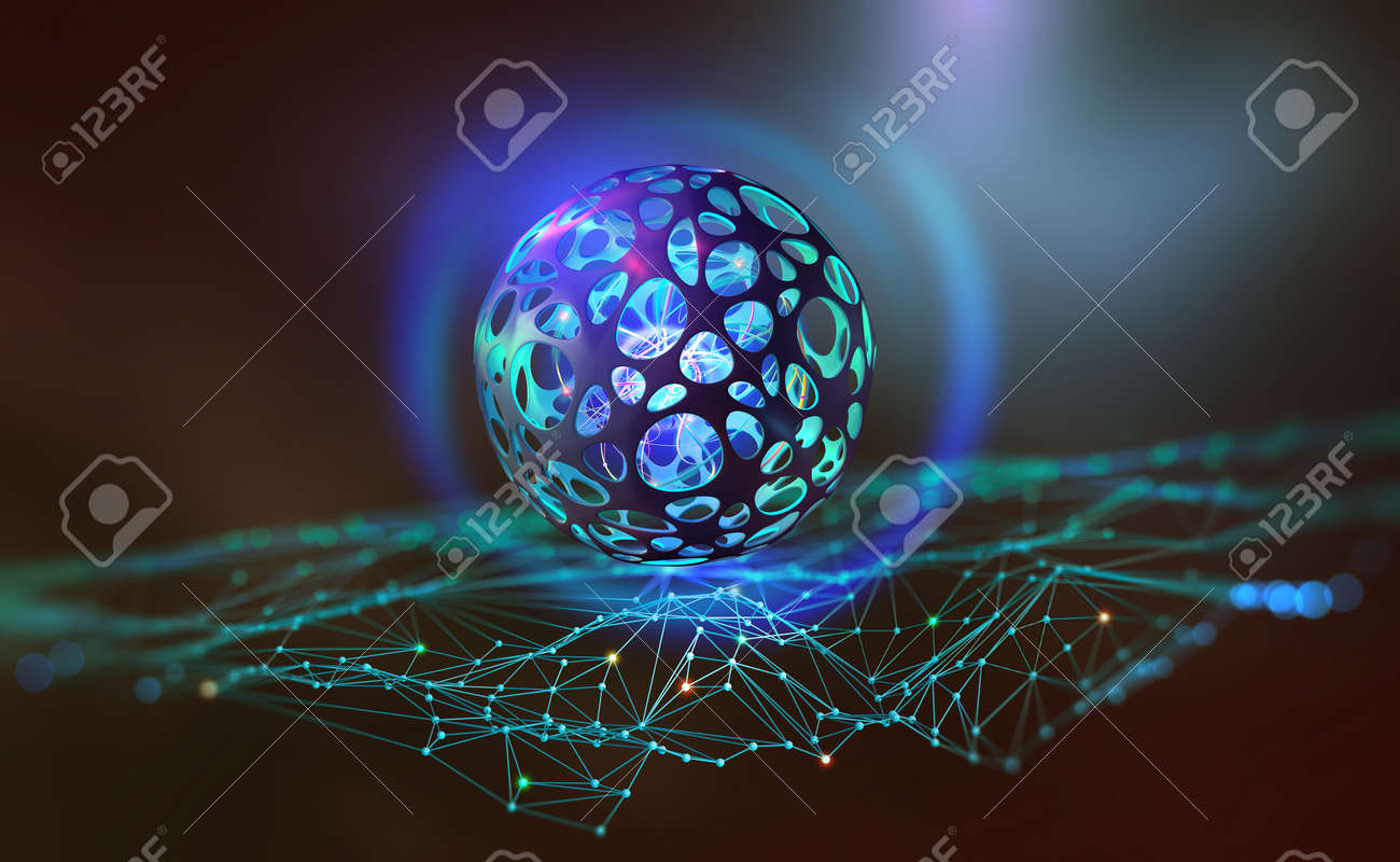 Global digital network. Blockchain technology. Artificial intelligence and processor of future. Quantum CPU and Neural Network 3D Illustration - 151190503