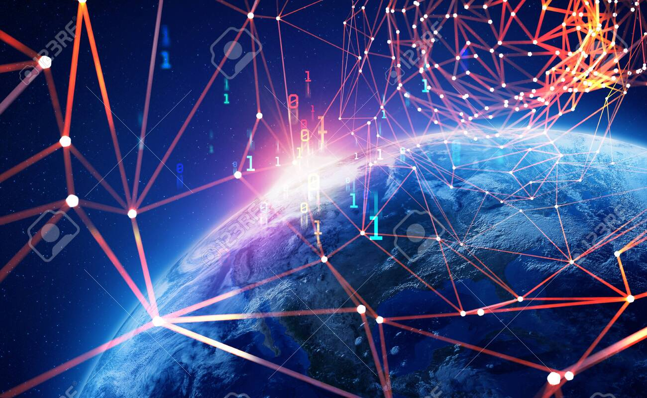 Big Data Concept. Global Cyberspace. 3D illustration of wireless internet technologies. Database protection and blockchain network. Elements of this image are furnished by NASA - 151190508
