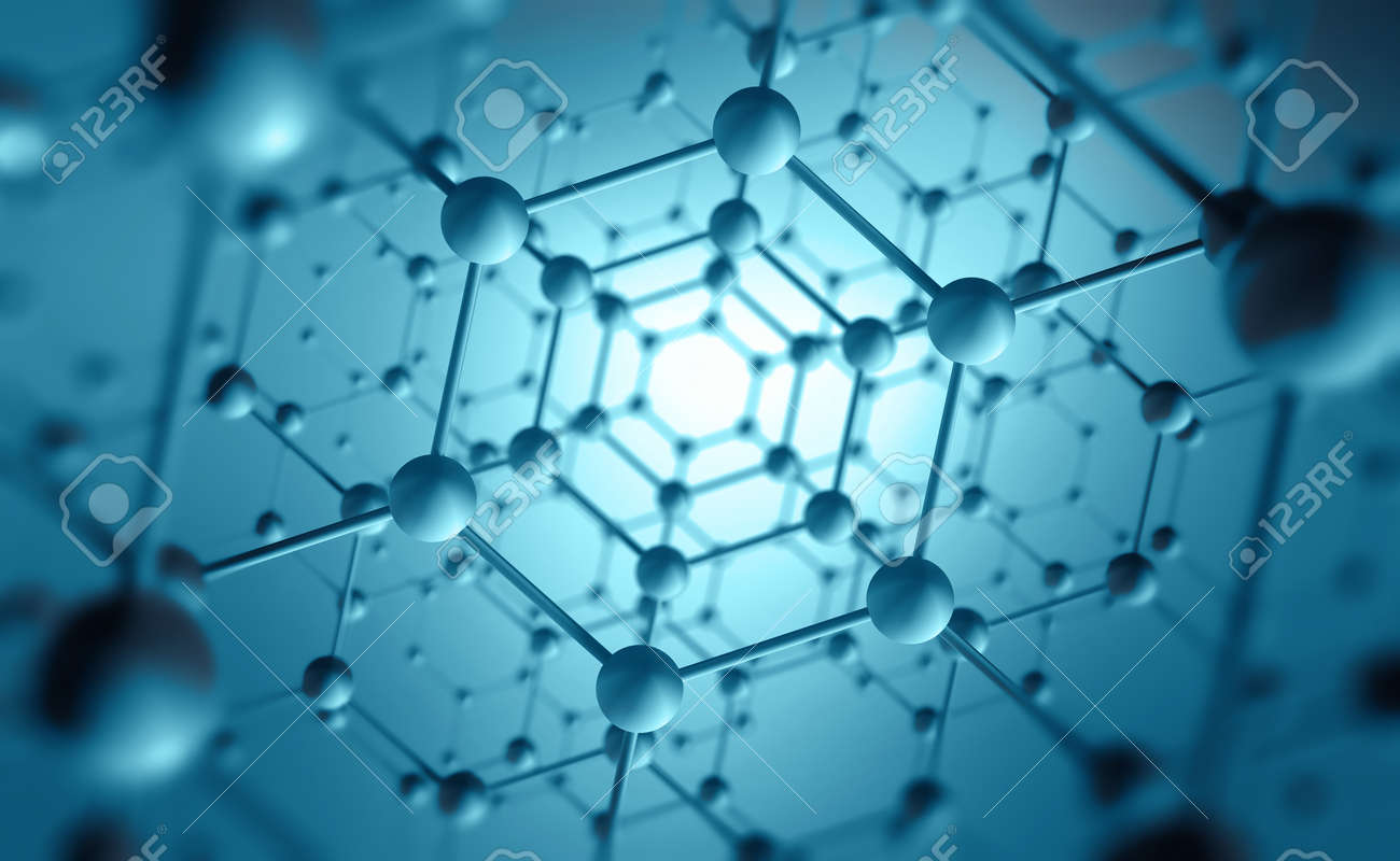 Nanotechnology in modern science. Future technologies in study of structure of nanomaterials. 3D illustration of atomic grid on a high-tech background - 151190540