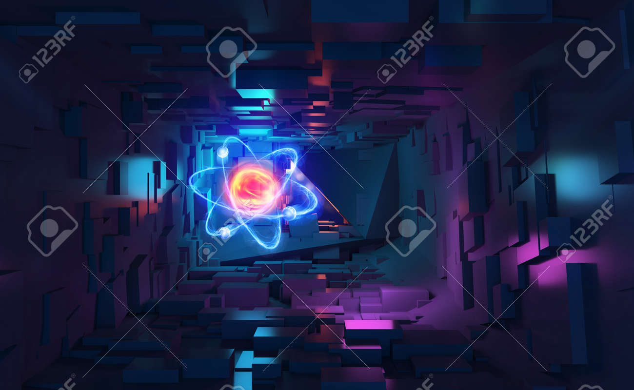 Atom 3d illustration. Neon light and ultraviolet. Inside spacecraft. Fantastic tunnel and cyberspace. Hadron Collider and Future Technologies - 151190575