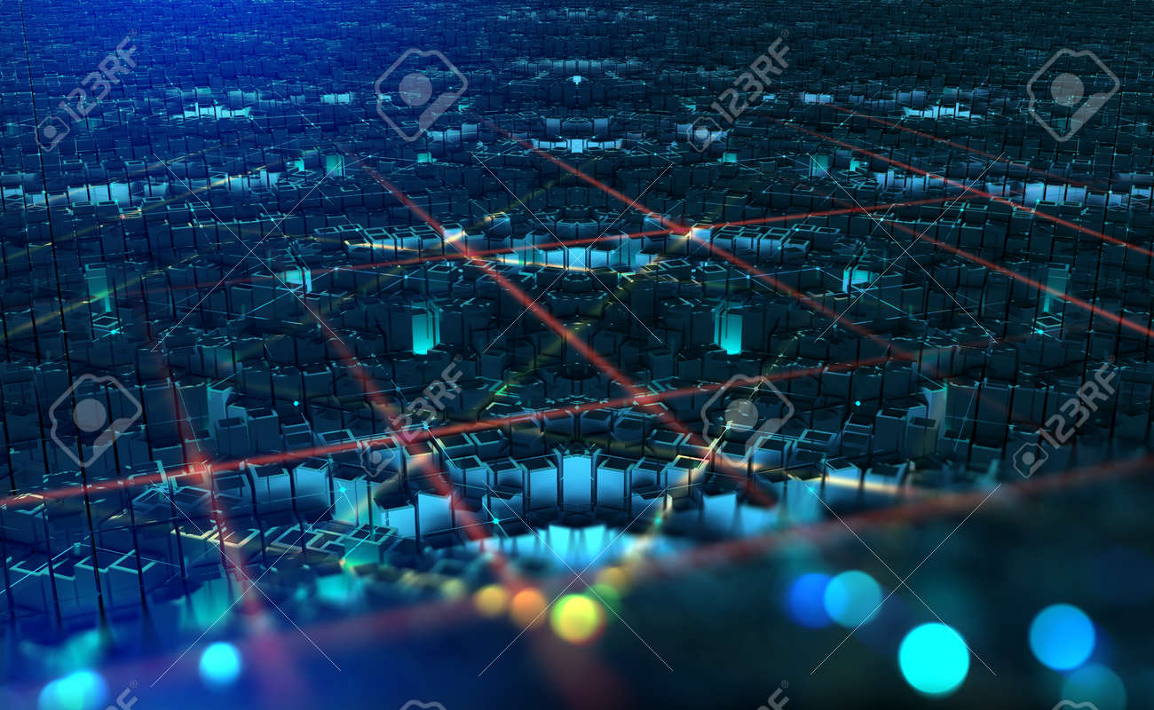 Digital city. Global Cyberspace. 3D illustration of wireless internet technologies. Database, blockchain network, digital evolution - 151190582