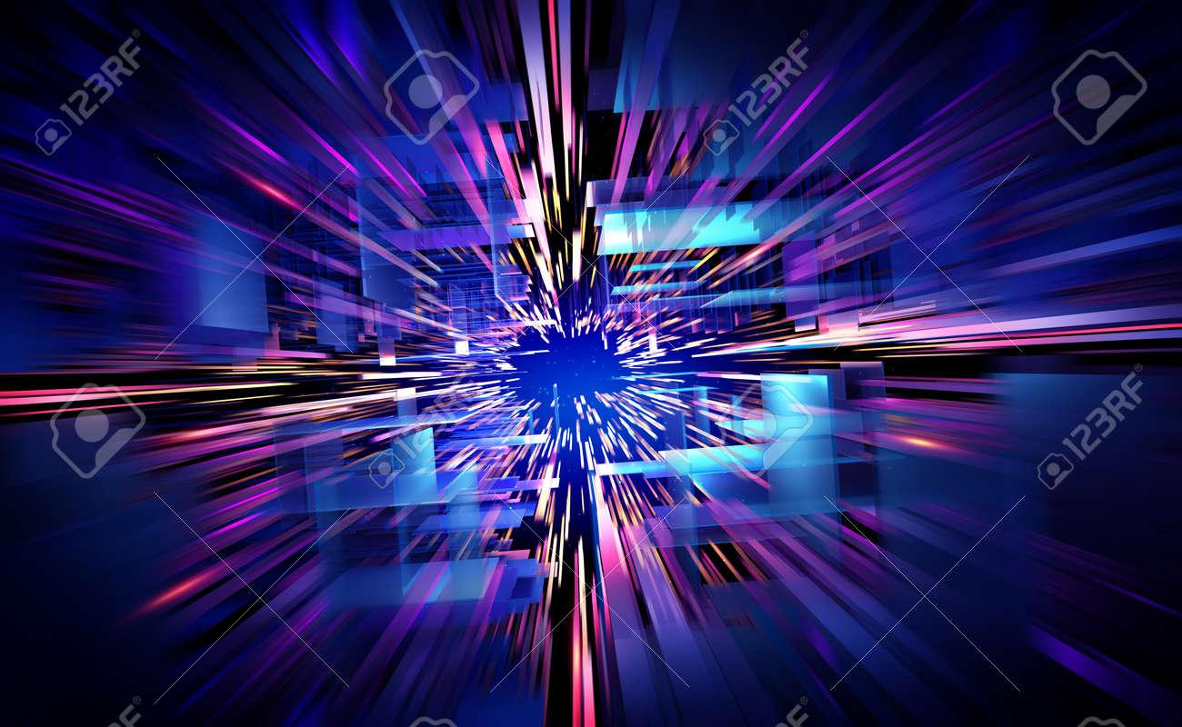 Futuristic city, orbital station, teleport, portal 3D illustration. Data transfer rate and infobases. Innovation in hi-tech industry. Bright, fresh digital background - 151190639