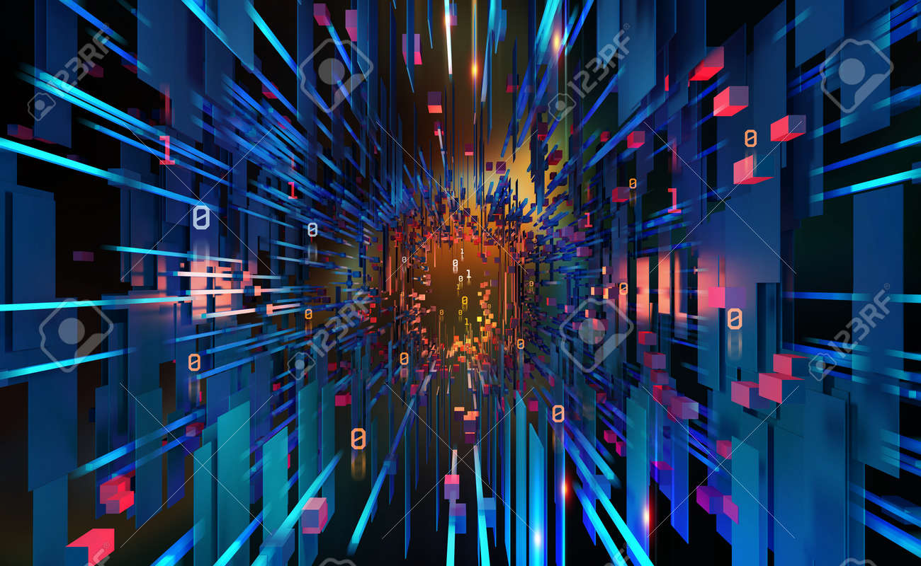 Digital data base 3D illustration. Abstract concept of a future computer. Innovation in world of high technology. Programming and coding in global cyber network - 151190658