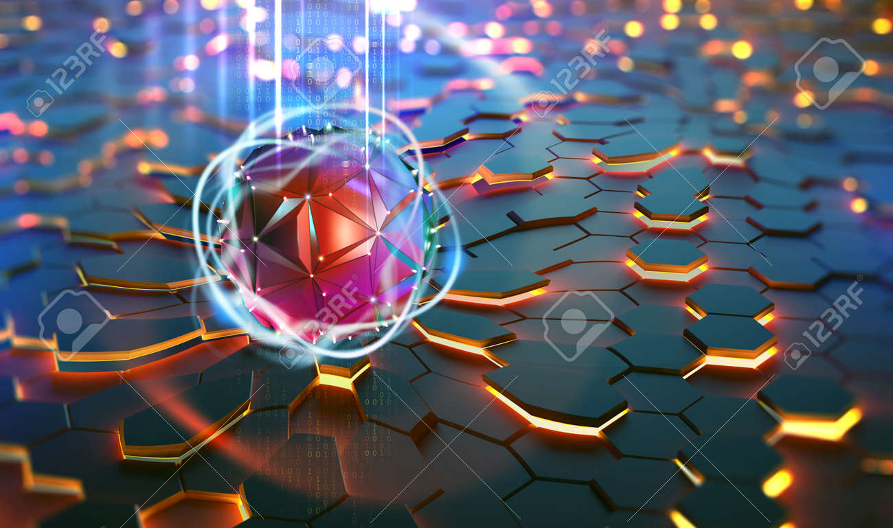 Futuristic processor, CPU, neural network, artificial intelligence. Network structure and cloud storage technologies. 3D illustration of abstract concept of digital tomorrow - 151190660