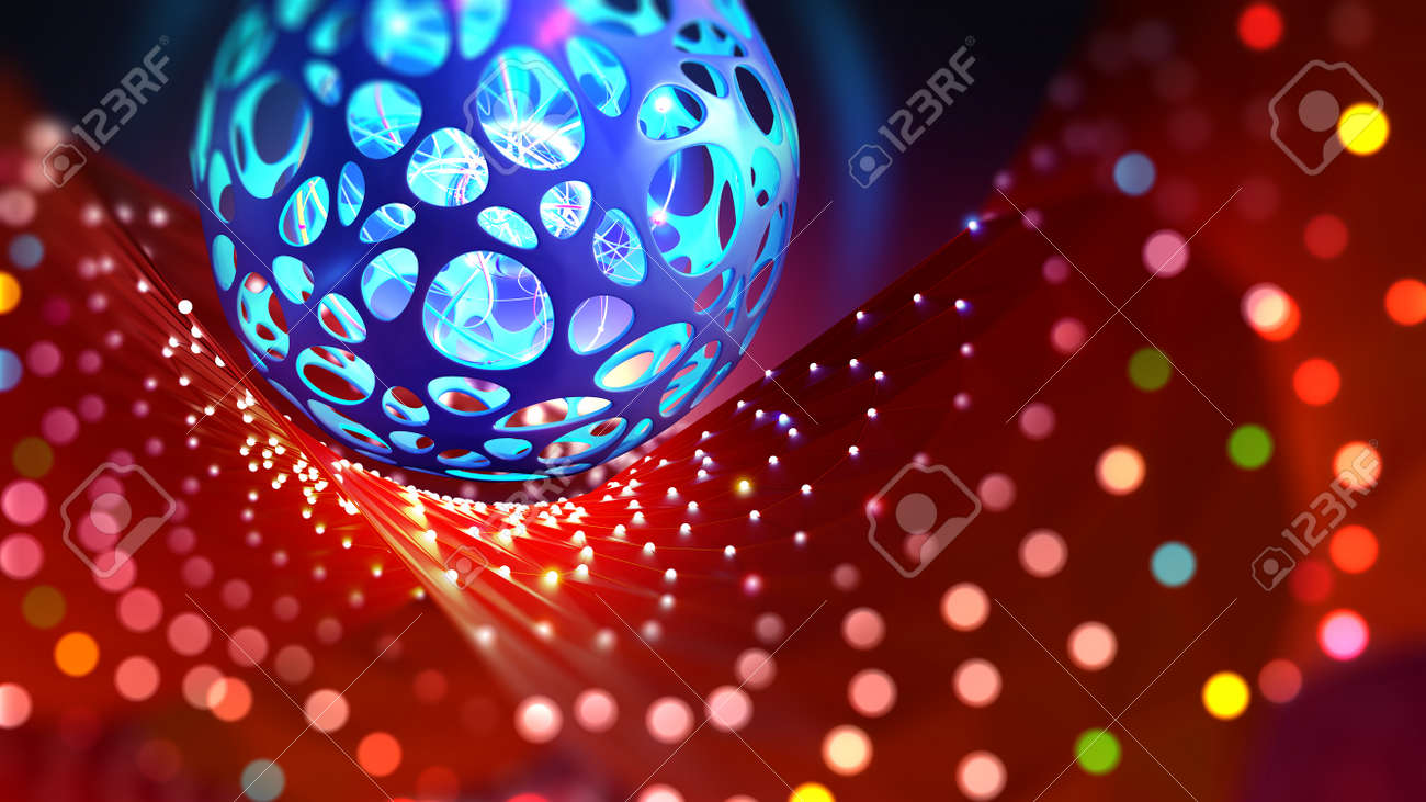 Neural network and artificial intelligence. Bright holiday and high technology. 3D illustration of a cyber ball on a bokeh background - 151190728