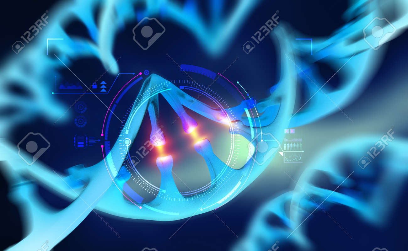 Cyber DNA, study of genetic chains. 3d illustration of future technologies. Cybernetics and improvement of human genome - 151190737