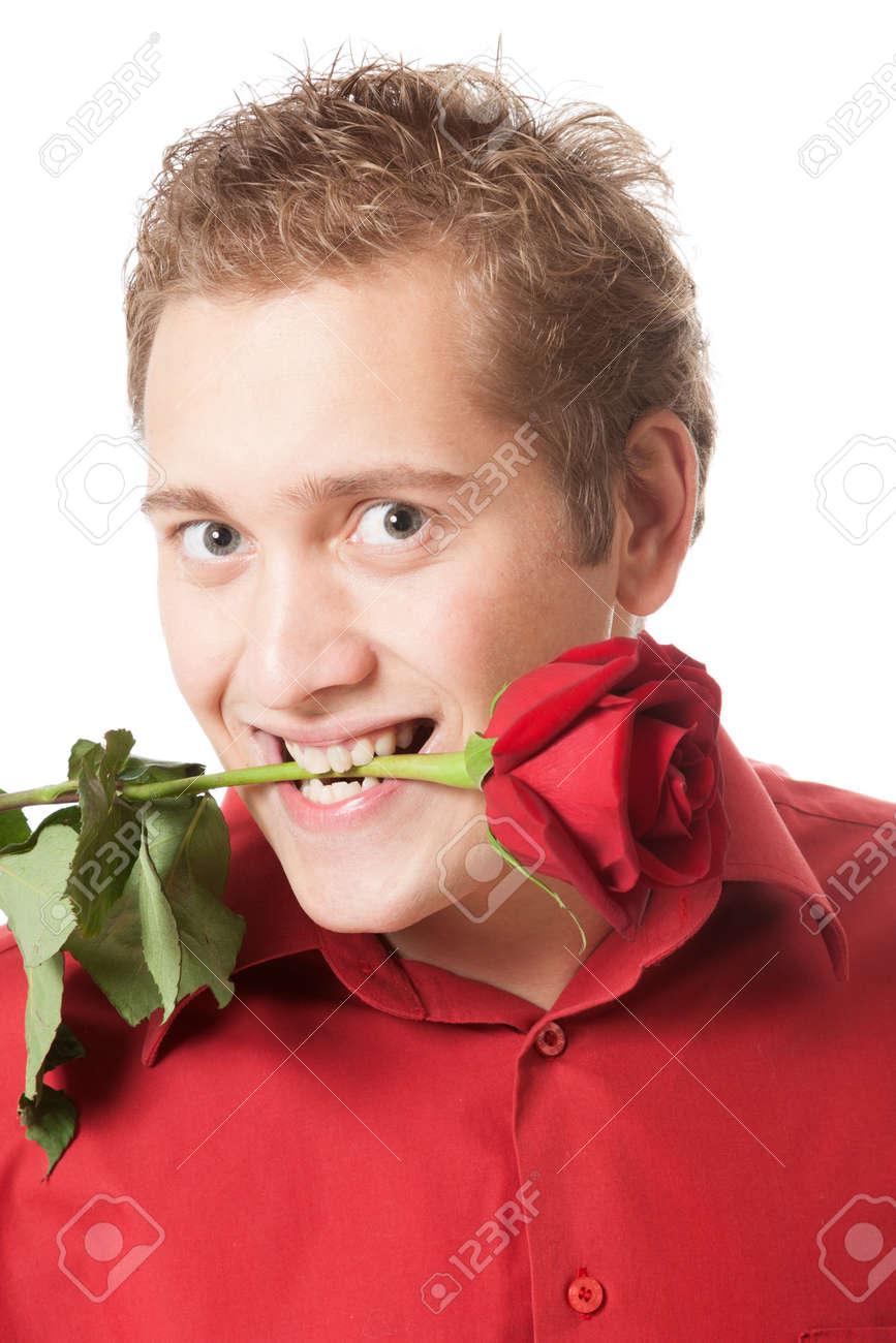 Junger Mann hält eine <b>rote Rose</b> in den Mund Lizenzfreie Bilder - 19938369 - 19938369-Junger-Mann-h-lt-eine-rote-Rose-in-den-Mund-Lizenzfreie-Bilder