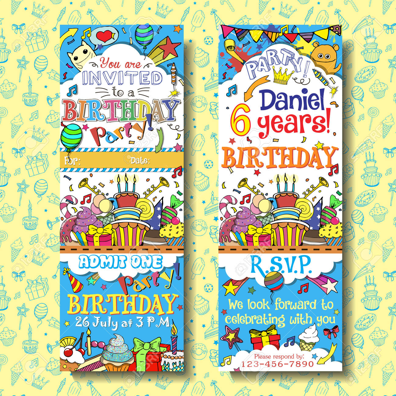 Vector birthday party invitation pass ticket face and back vector birthday party invitation pass ticket face and back sides with doodles background design stock stopboris Image collections