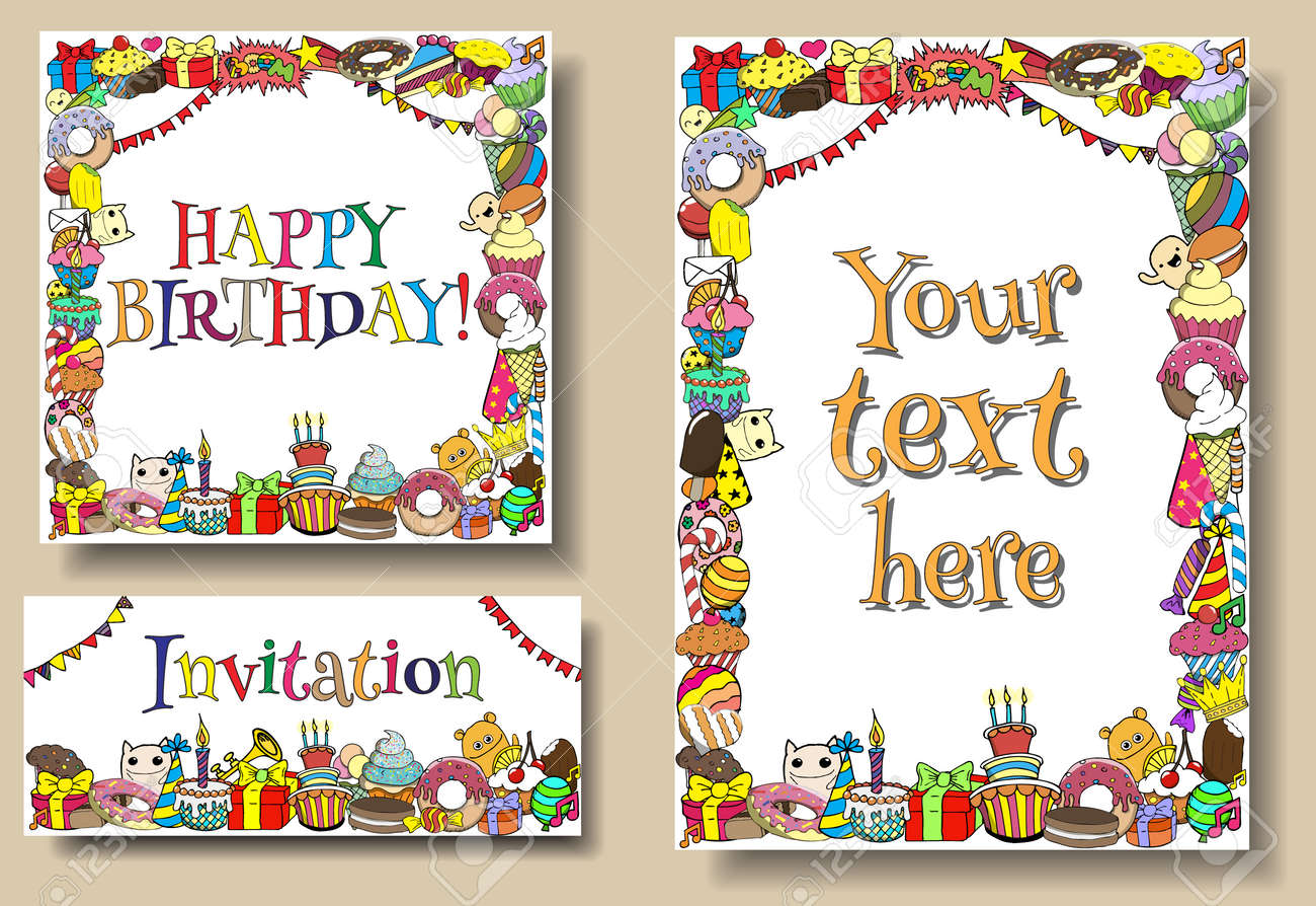 Set Greeting Cards Birthday Party Templates With Sweets Doodles – Birthday Cards Borders
