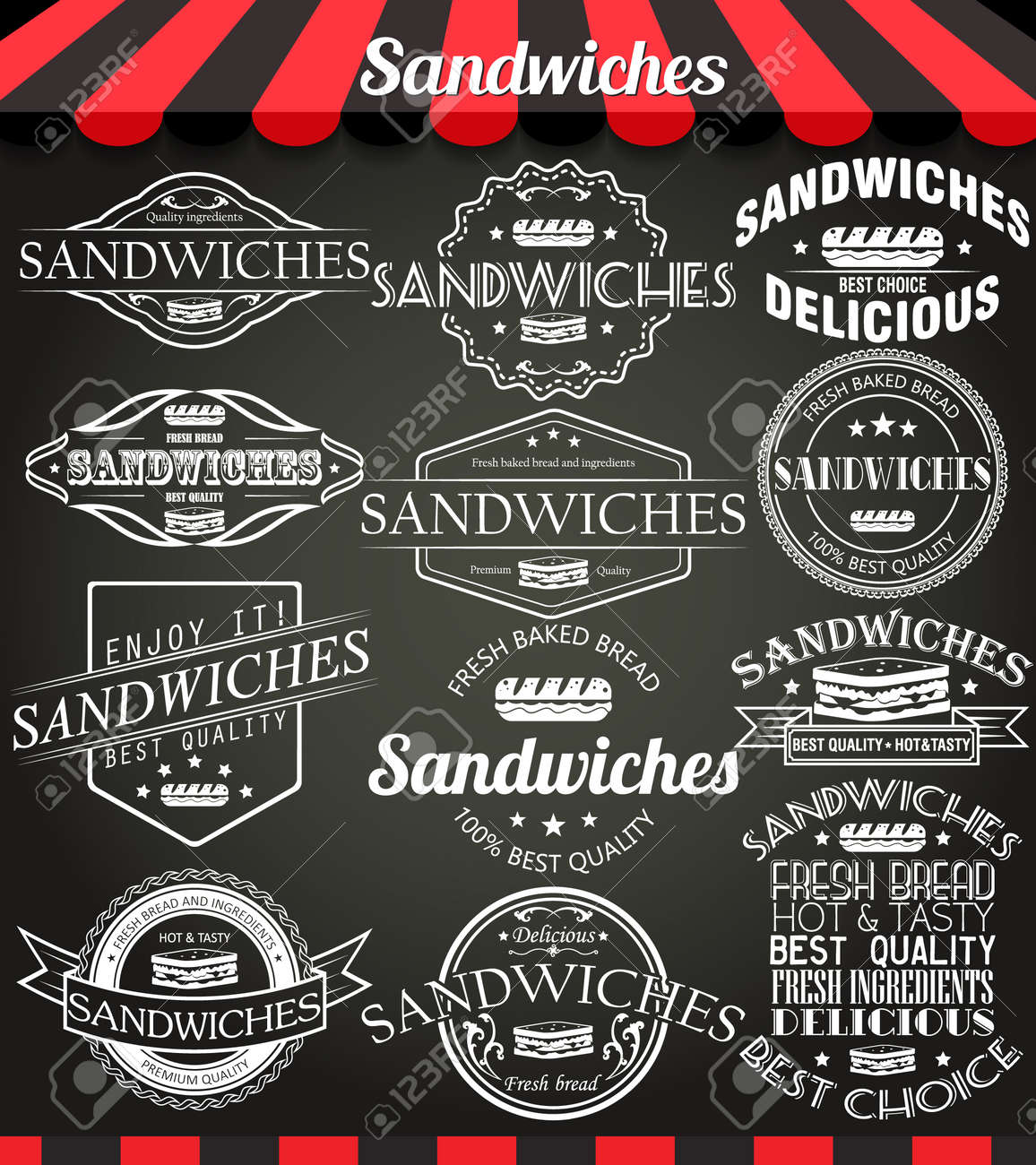 White Set Of Sandwiches Retro Vintage Labels, Badges And Logos On ...