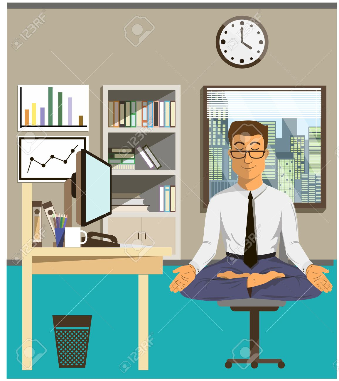 Illustration of the concept of relax and work balance. Office man doing Yoga to calm down the stressful emotion from multi-tasking and very busy working. - 47919942