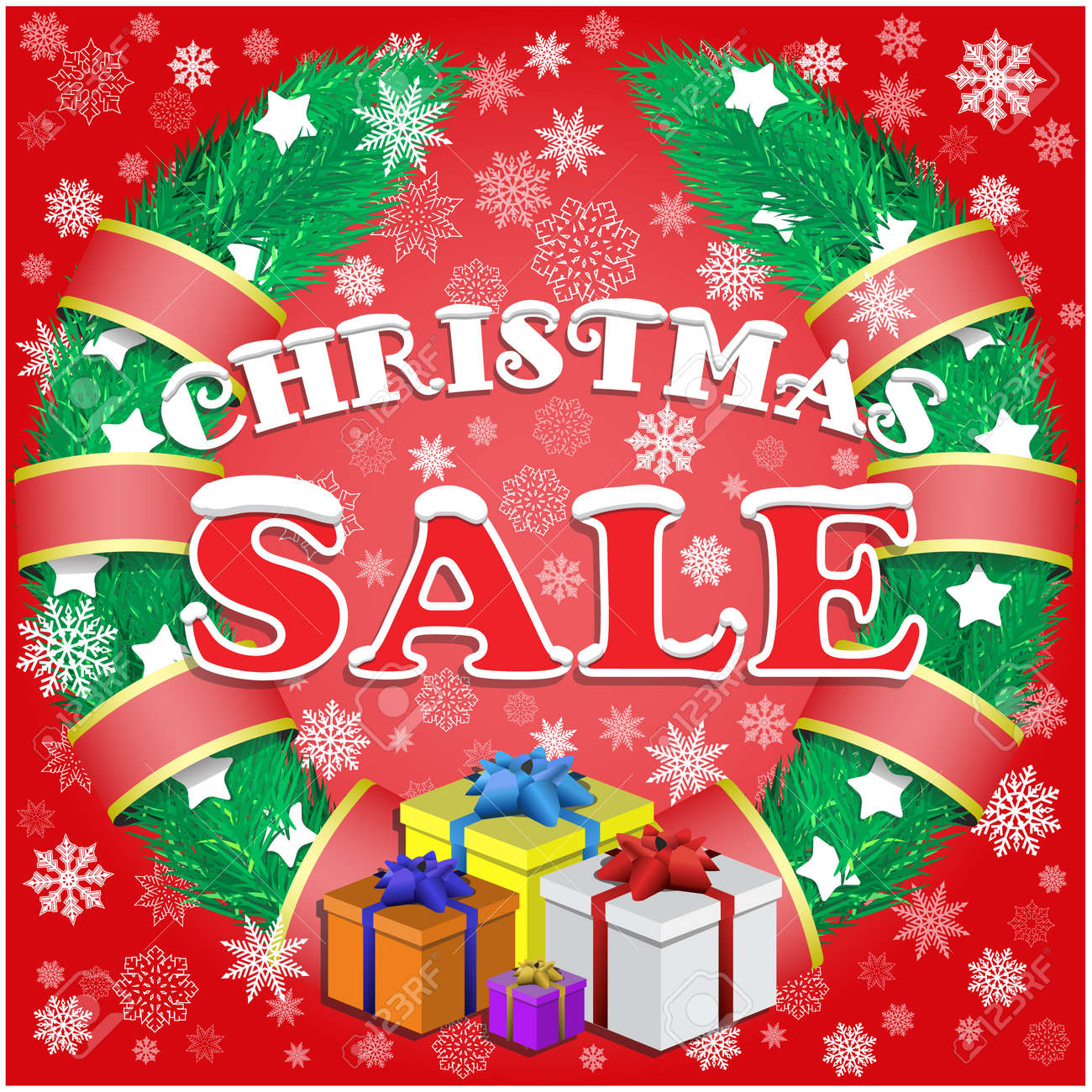 Christmas Sale Poster With Red Background,gifts, Wreath And Snow ...