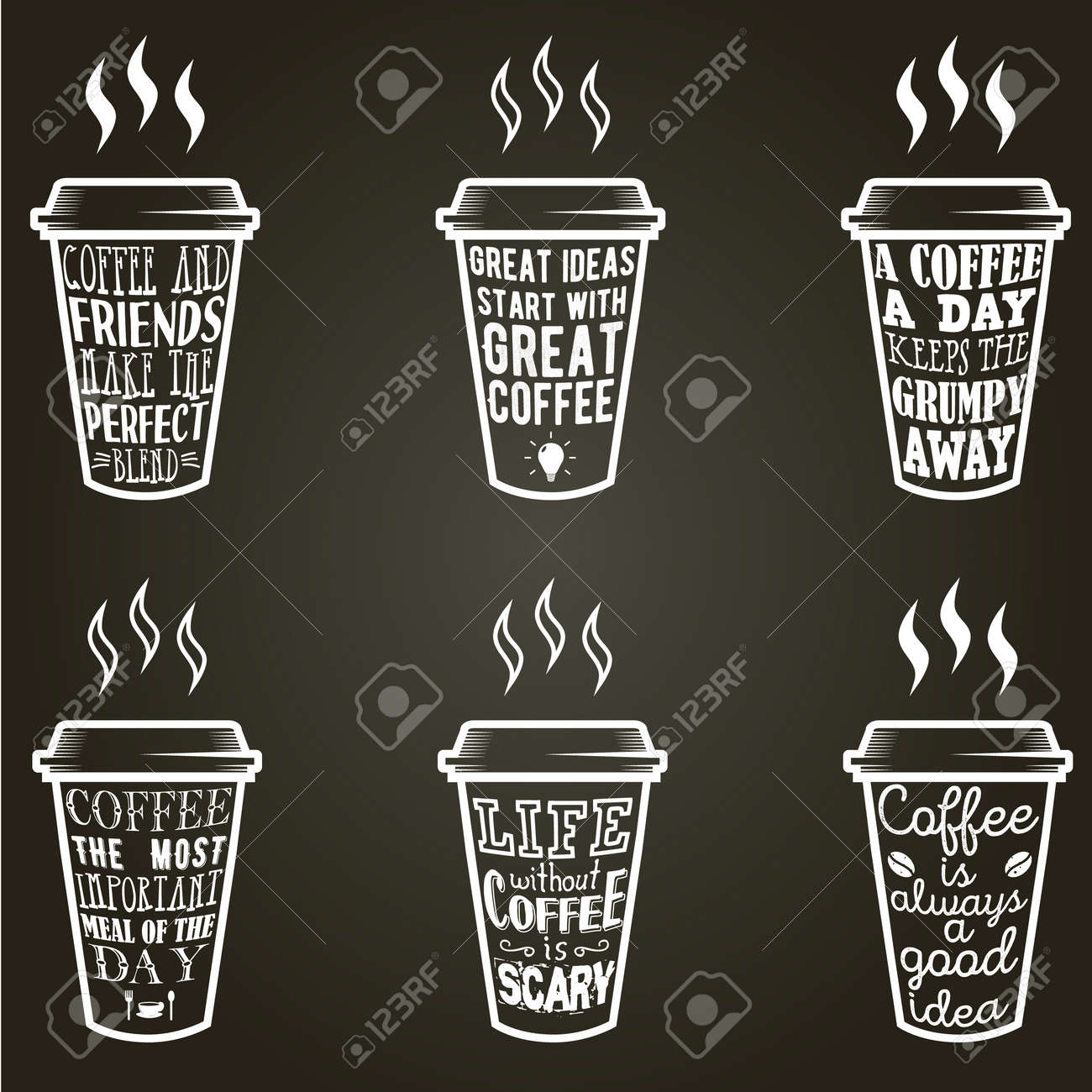 vector coffee quotes and sayings typography set royalty