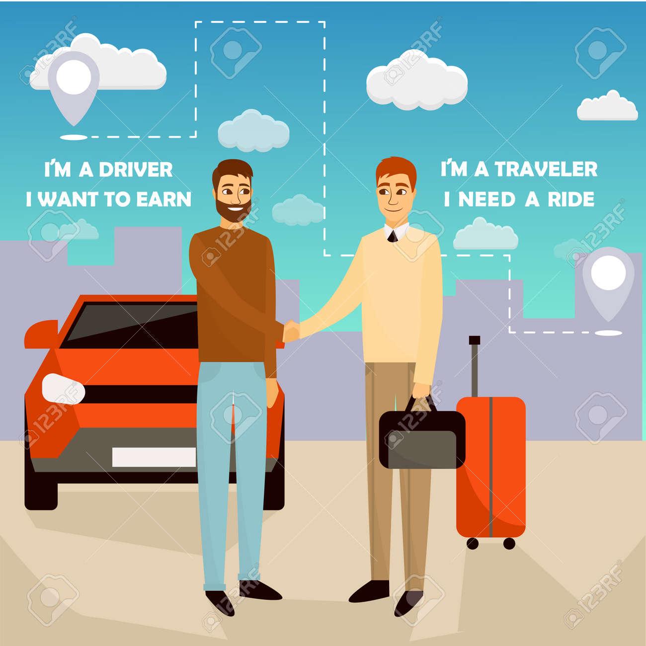 Carpooling Concept Vector Illustration In Cartoon Style Carpool