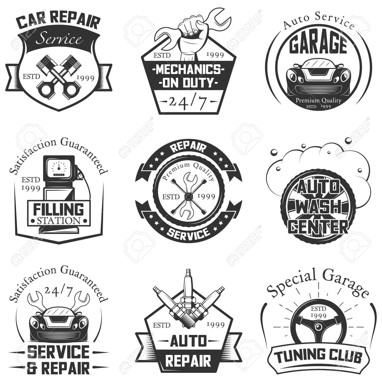 Vector Set Of Vintage Car Service Logos Emblems Badges Symbols