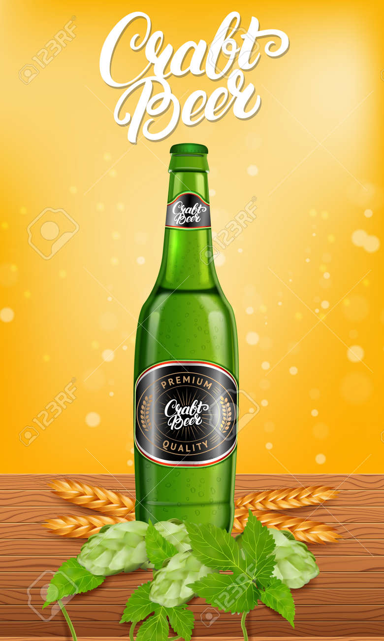 realistic beer products ad vector 3d illustration light craftrealistic beer products ad vector 3d illustration light craft beer bottle template design