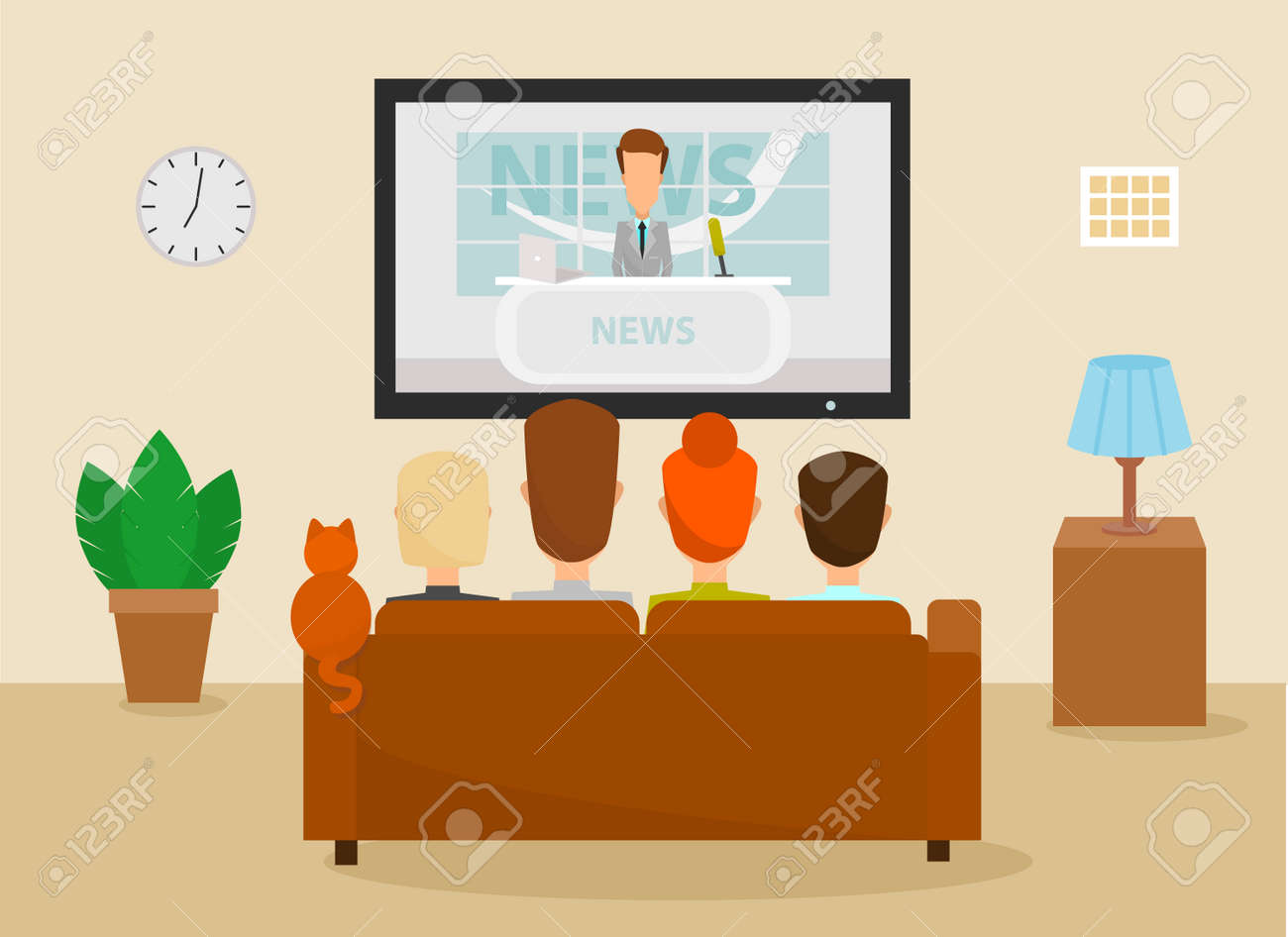 Family with cat watching TV daily news program sitting on the couch at home in the living room. Vector illustration in a cartoon style - 85863445