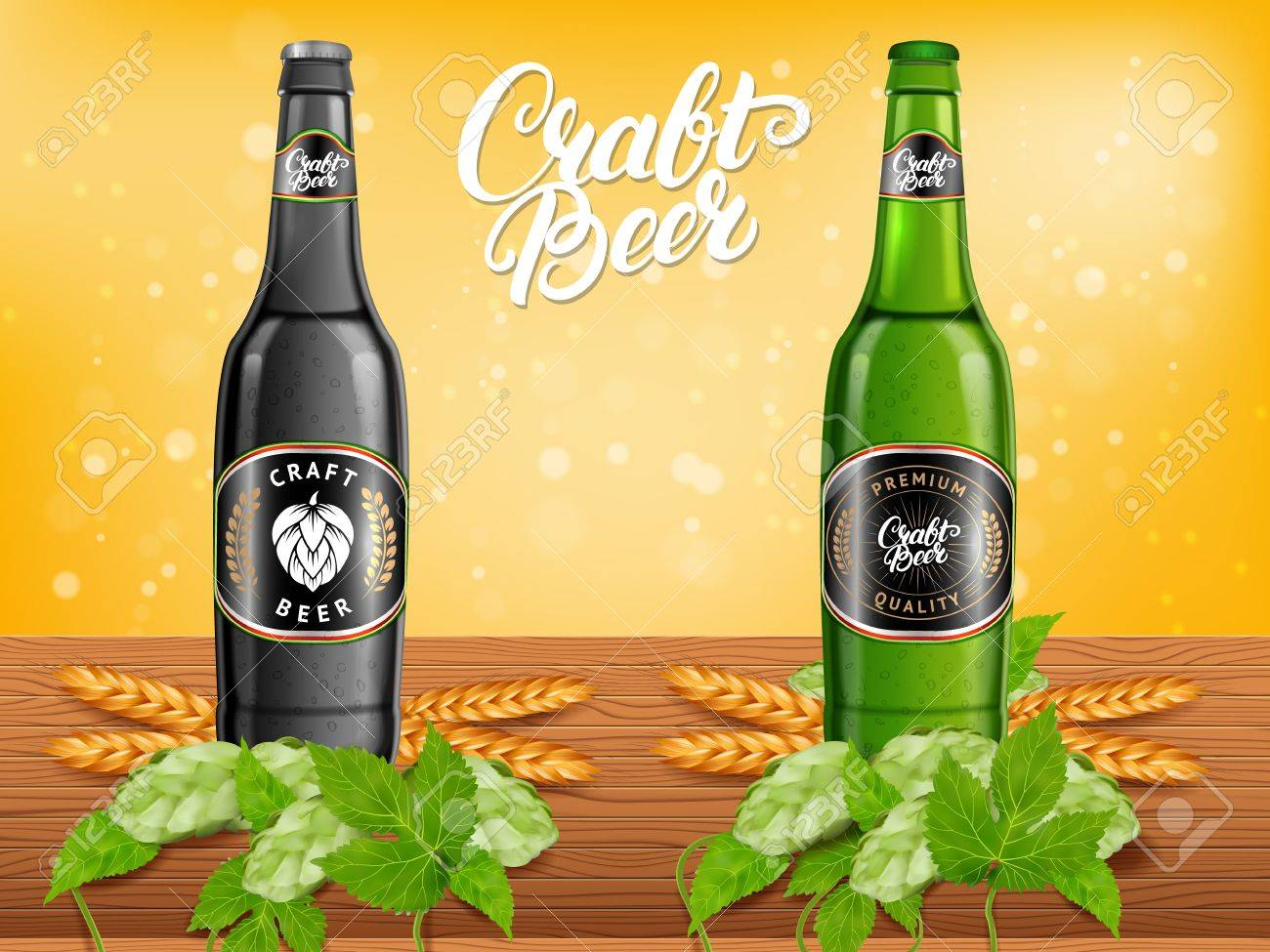 realistic beer products ad vector 3d illustration dark and